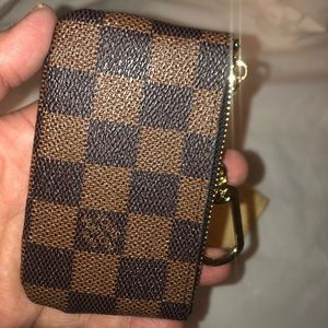 Brown checkered wallet